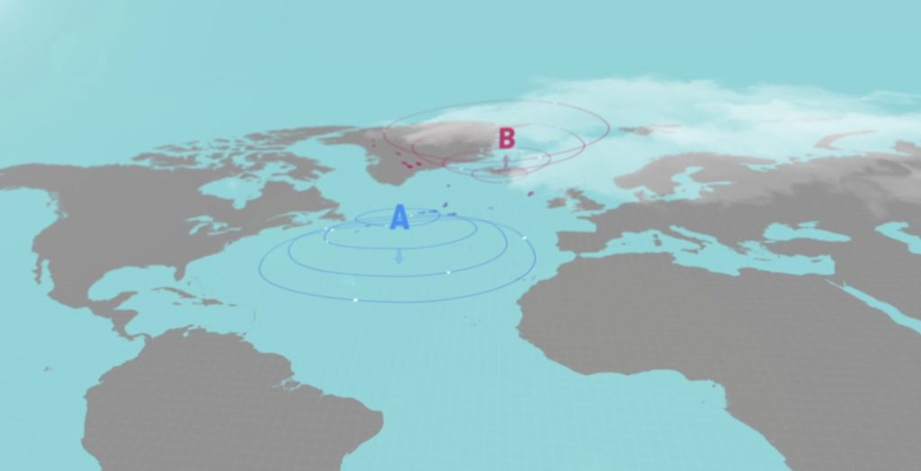 Graphic of the anticyclone system in Azores