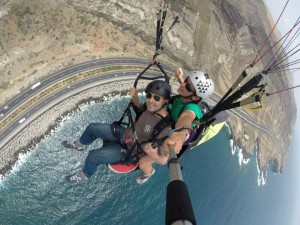 Spiral down on a paraglider