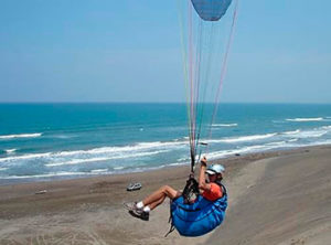 Paragliding over sand by the coast